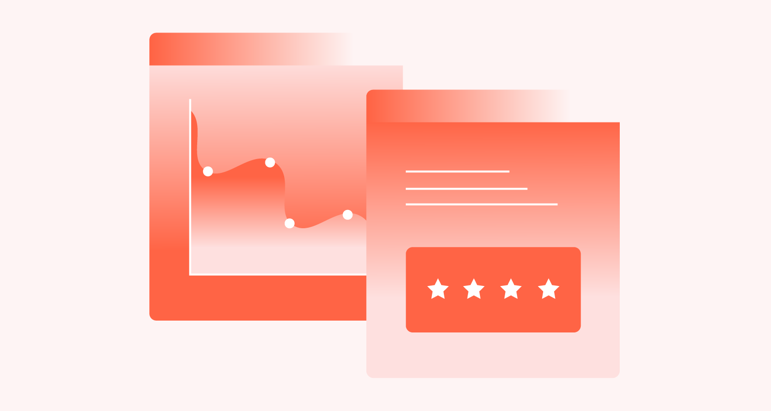 Data on a website dashboard and feature review comment.