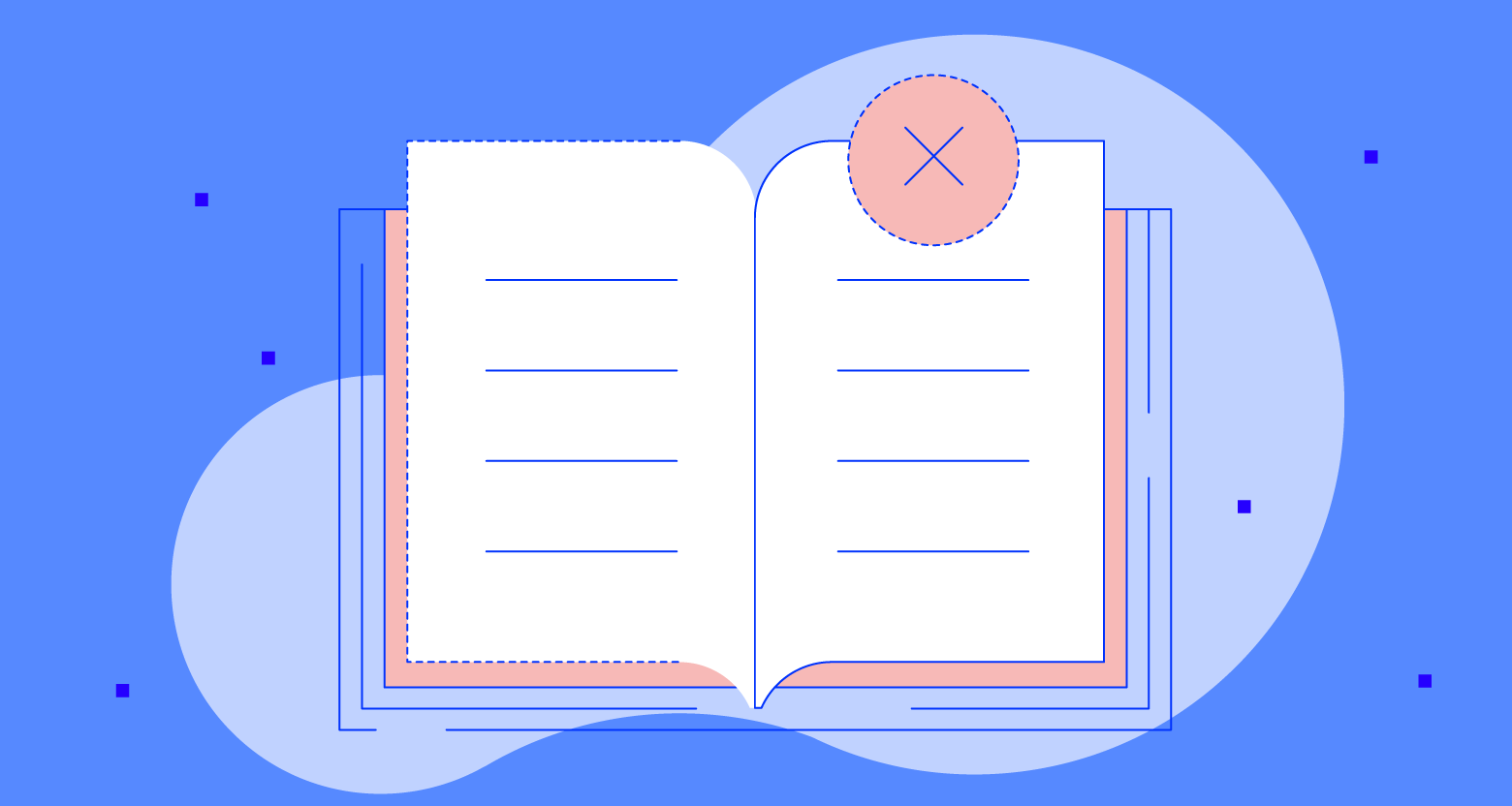 Book of rules with an x on the book.